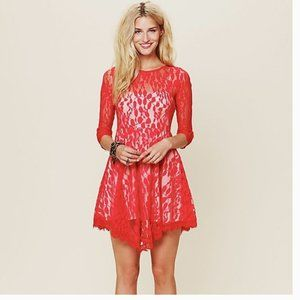 Free People Red Lace Dress Size 10